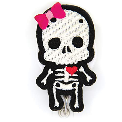 X-Ray Radiology Skeleton Felt Embroidered Retractable Badge Reel Holder with Aligator Clip