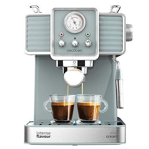 Cecotec Cafetera Express Power Espresso 20 Tradizionale para espressos y cappuccinos, rápido Sistema de Calentamiento por thermoblock, 20 Bares, manómetro PressurePro y vaporizador orientable