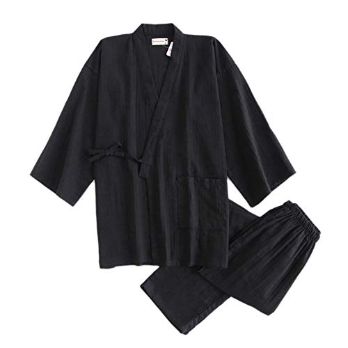 ZTIANR Suit Pigiama Uomo, Kimono Accappatoi per Pigiama di Cotone Maschile Set Vesti Sauna Giapponese Mens Pigiami Accappatoi Hombre Spa Homewear Maschile,Nero,M