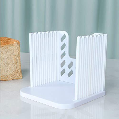 Cortador de pan, cortador de pan, molde para pan, bolsas plegables y compactas con bandeja de migas para pan casero, color blanco