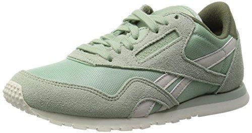 Reebok Damen CL Nylon Slim Core Laufschuhe, Grau/Grün/Weiß (Sage Mist/Canopy Green/Chalk), 38 EU