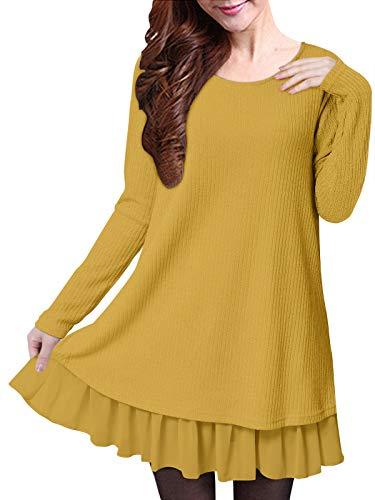 ZANZEA Jersey Mujer Invierno Largo Vestidos de Encaje para Vestido Lazo Elegant Fiesta de Noche Suéter Suelta Amarillo 5XL