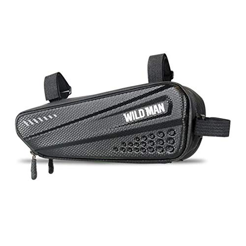 WILD MAN 1.2L Rainproof Hard Shell Bike Saddle Bag for Bicycle Triangle Frame Under Seat for Road Mountain Cycling (Black,ES4)