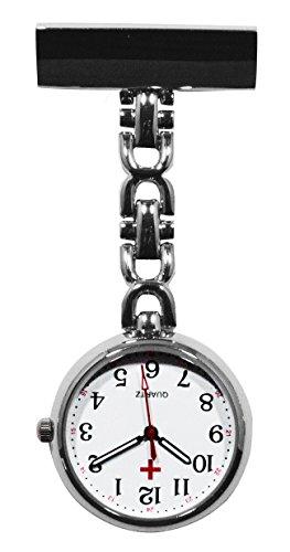 Ellemka JCM-2105 - Schwesternuhr Clip zum Anstecken FOB Kittel Krankenschwester Pflege-r Quarz Puls-Uhr Taschen Metall Ansteck-Nadel Tunika Gewölbtes Glas - Farbe Silber