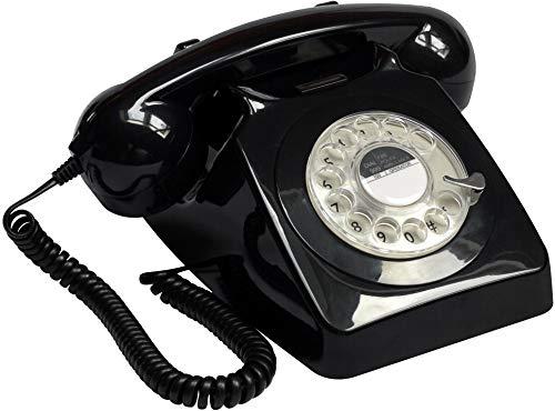 GPO 746 Teléfono fijo de disco con estilo retro de los años 70 - Cable en espiral, Timbre auténtico - Negro