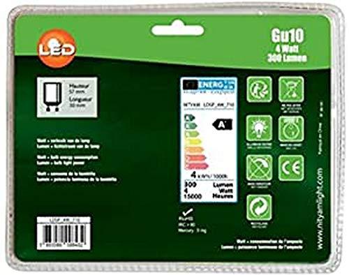 Nityam Lot de 5 ampoules LED SPOT GU10 4W 300 Lumens - Couleur Chaude 3000K - [Classe énergétique A+]