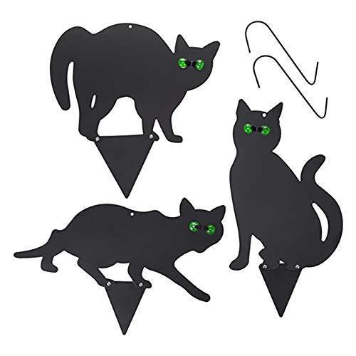 Dinah Juego de 3 piezas de decoración de gato 2D realista con ojos reflectantes, estatua de metal para jardín, césped, color negro