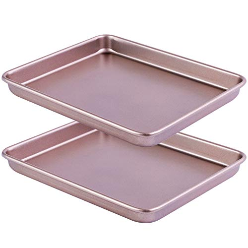 Aneco Pack of 2 Carbon Steel Baking Sheets Nonstick Baking Pans Rectangle Cookie Sheets Steel Baking Set for Oven, Housewarming, Wedding, Bakers or Chefs Kitchen Gifts, Champagne Gold, 11 x 9 x 1 Inch