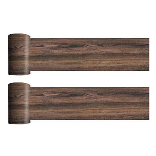 2 rollos de pegatinas para suelo de madera de PVC de grano de madera, autoadhesivas, impermeables, para decoración de pared, lavable Haoyuestory