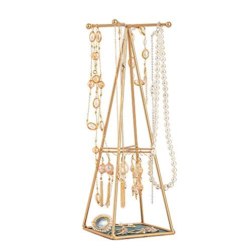 Julitech Colgante de la Joyería Organizador Soporte Chapado en Oro Soporte de Joyería Torre de la Torre con Bandeja para Pendientes Collar Joyas Colgante Suministros Decoración para el Hogar
