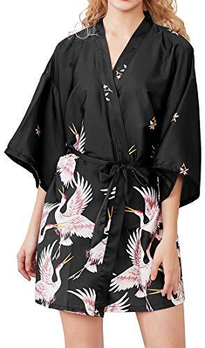 Chaos World Vestido para Mujer Kimono Corto Pijama Bata Satén Seda de Hielo Bata Albornoz (Grulla Negro, Large)