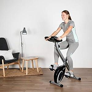 Ultrasport F-Bike Bicicleta estática de Fitness, Aparato doméstico, Plegable con Consola y sensores de Pulso en Manillar, sin Respaldo, Unisex, Negro