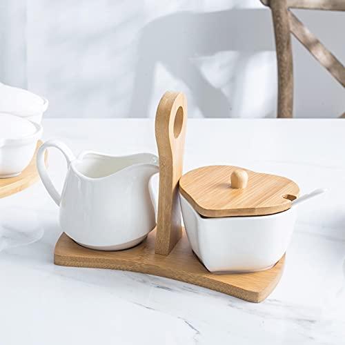 PPuujia Crema de cerámica, jarra de leche, vertedor, jarra de jarro, taza de café de cerámica con forma de corazón, bandeja de bambú y tapa (color: juego)