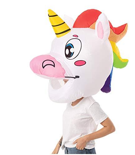 Spooktacular Creations Adult Unisex Unicorn Bobblehead Inflatable Costume Air Head Mask Halloween Costume - Adult One Size (Unicorn)