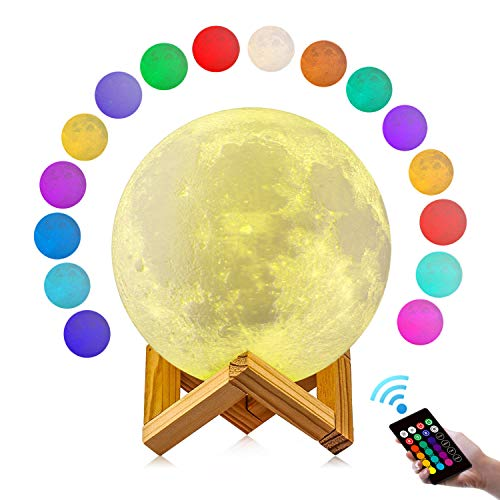 Moon Lamp, GDPETS 3D Printing 4.8 Inch 16 Colors Moon Light with Stand & Remote &Touch Control and USB Rechargeable Decorative Light Up Lamp for Baby Kids Lover Birthday Party Gifts (4.8 Inches)