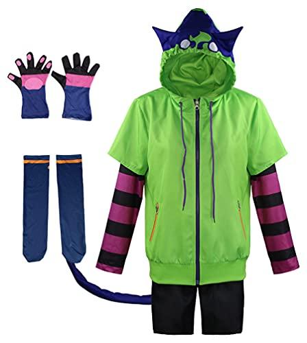 Anime Miya SK8 The Infinity Cosplay Kostüm Uniform Halloween Outfit Jacke Mantel Hemd Hose Schwanz Komplettes Set für Erwachsene (X-Large, Grün)