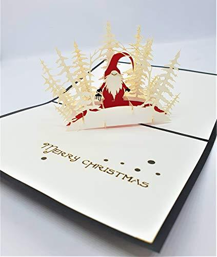 BC Worldwide Ltd Tarjeta de Navidad emergente 3D hecha a mano Feliz Navidad Papá Noel bosque blanco Saludos de origami vintage Adorno de regalo Decoraciones de Navidad