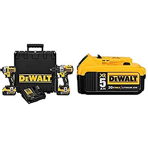 DEWALT DCK299P2 20V MAX XR 5.0Ah Premium Cordless Hammerdrill & Impact Driver Combo Kit with DCB205 20V MAX XR 5.0Ah Lithium Ion Battery-Pack