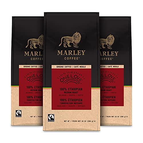 Marley Coffee One Love, 100% Ethiopian, Medium Roast, Ground Coffee, 10 Ounce (Pack of 3)