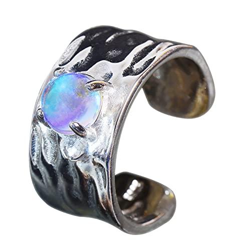NicoWerk Damen Silberring mit Schimmer aus 925 Sterling Silber Breit Bandring Stein Bläulich Struktur Verstellbar Offen SRI725