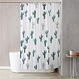 Tenda doccia 180x180 cm con decoro cactus Bianco Decoro Cactus