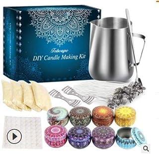 Kit de Fabrication de Bougies de Cire Bricolage, DIY Bougies, Inclus Flocons de Cire d'abeille, boîtes de Bougies,Pot de F...