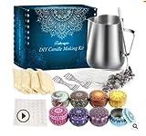 GiftPot Kit de fabricación de Velas, Juego de Regalo de Bricolaje, hojuelas de Cera de Abejas, Jarra de fusión, latas de Velas