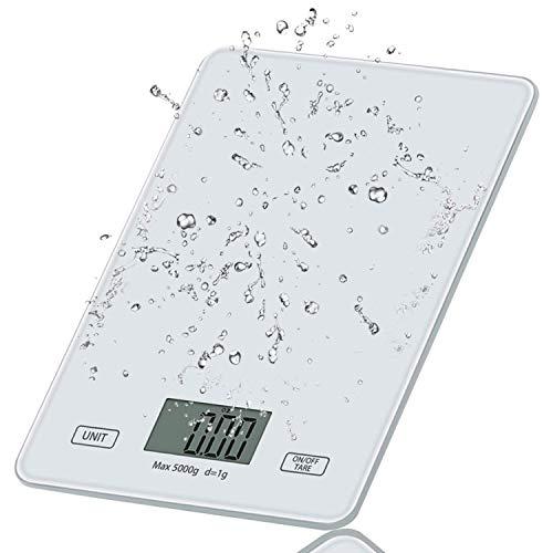 HONZUEN Bilancia Cucina Digitale, Bilance Elettroniche per Alimenti con Superficie in Vetro Temperato, 5 kg / 11 lbs, Bilancia da Cucina Impermeabile con Display LCD e Funzione Tara(Bianca)