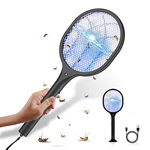 Nuaer Bug Zapper Racket, 3800V Electric Fly Swatter with Stander Base, 2 in 1 Bug Zapper Racket with 3 UV LED Light Beads, USB Charging, Indoor & Outdoor Mosquito Killer for Home, Office, Patio