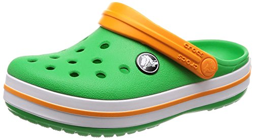 Crocs Crocband Clog Kids, Unisex-Kinder Clogs, Grün (Grass Green/White/Blazing Orange), 25/26