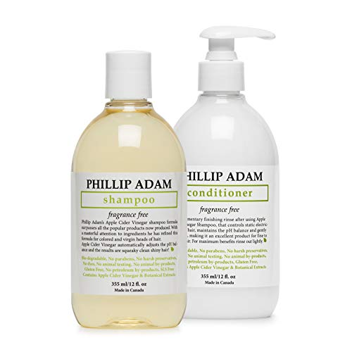 Phillip Adam Fragrance Free Shampoo and Conditioner Set with Apple Cider Vinegar - pH Balancing - Enhance Shine and Smoothness- 12 Ounce Each