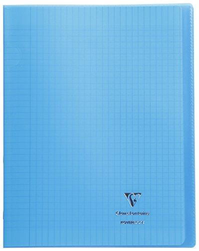 Clairefontaine 984402C - Un cahier piqué Koverbook 48 pages 24x32 cm 90g grands carreaux, couverture polypro (plastique) transparente, Bleu
