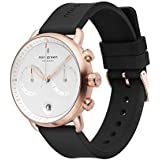 Nordgreen Pioneer Men's Chronograph Watch Scandinavian Rose Gold 42mm with White Dial and Black Rubber Strap 14028