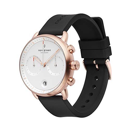 Nordgreen Pioneer - Reloj cronógrafo minimalista para hombre, oro rosa, 42 mm, esfera blanca y correas intercambiables