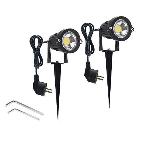 WeFoonLo 2 pacchetti esterni illuminazione del paesaggio 5W COB LED faretti per il giardino giardino prato inglese sentiero con sospensione Stand e adattatore a spina (Bianco freddo)