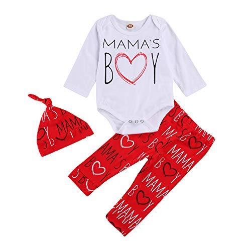 Carolilly - Conjunto de ropa infantil unisex de 3 piezas para San Valentín, pantalón y body de manga larga con corazón y corazón impreso rojo niño 6-12 meses