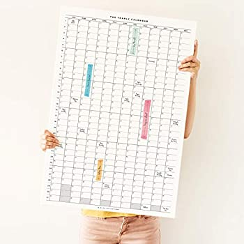 Bliss Collections Large Wall Calendar 20 x 30 Inches Frameless Yearly Calendar to Keep Track of All Your Annual and Perpetual Special Events Year After Year Oversized Calendars for Home or Office