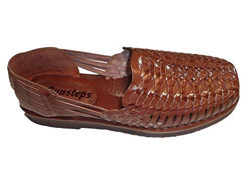 Sunsteps Barclay Men's Hand Woven Leather Huarache Sandal for All-Day Comfort (11M, Medium Brown)