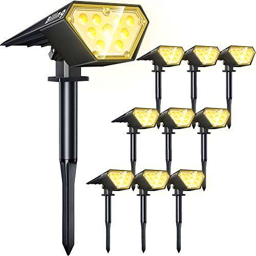 Biling Solar Spotlights Outdoor, 2-in-1 Solar Landscape Lights 12 LED Bulbs Solar Powered Lights IP67 Waterproof Adjustable Wall Light for Patio Pathway Yard Garden Driveway Pool - Warm White(10 Pack)