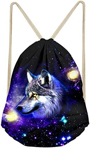 NDISTIN Cool Galaxy Wolf Design Drawstring Shoulder Bag Animal Backpack Lightweight Daypack product image