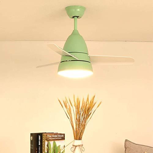 Ventiladores para el Techo con lámpara, Macarons Creativo Lámpara Moderna Nursery Aula Infantil Zona de Juegos decoración del Dormitorio, Rosa (Color : Green)
