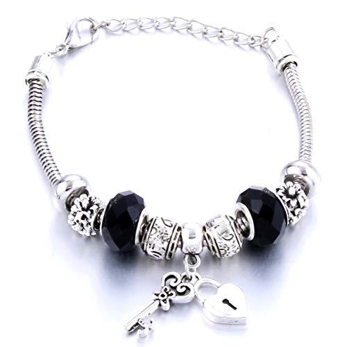 WANGJINQIAO Pulsera original con cierre de llave, varios colores, pulsera de cuentas de cristal femenina, regalo de joyería, pulsera decorativa (Couleur de Métal: 8)