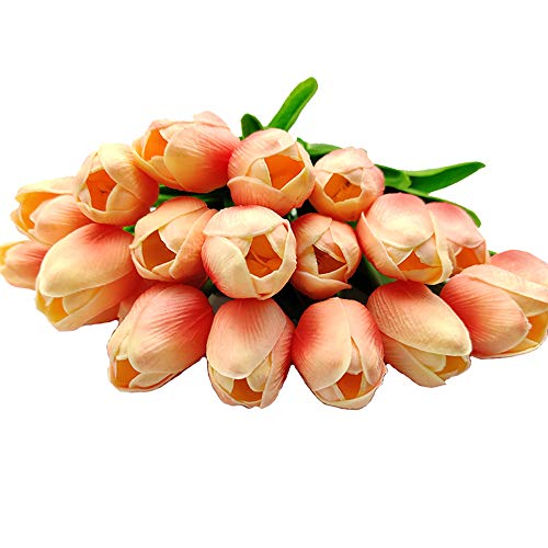 Aisamco 20 Piezas Tulipanes Artificiales Tulipanes Real Touch Ramos de Boda Flores Tulipanes Falsos Tulipanes PU Flores para Home Room Centro de Mesa Fiesta Decoración de Boda