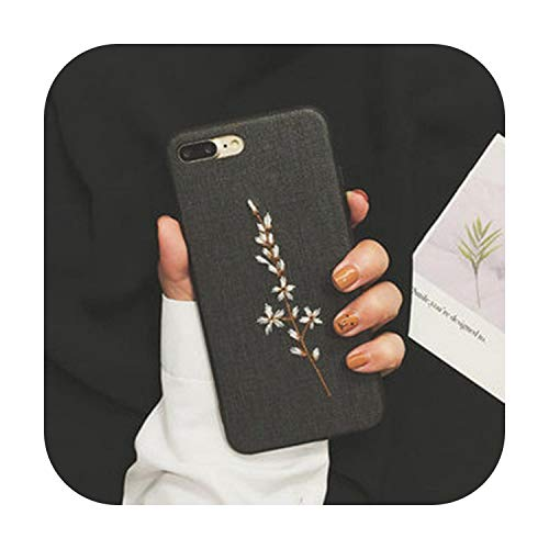 N/A Fashion 3D Relief Stickerei Stoff Textur Hülle für iPhone X Blume Dattern Cover für iPhone 8 7 6 6S Plus X Xs Xr Max Funda-8-For iPhone X