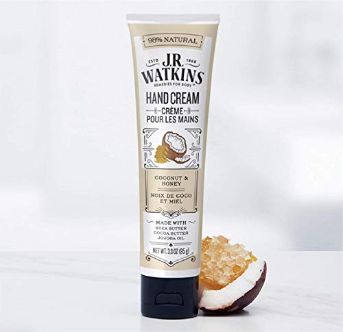 J.R. Watkins Natural Moisturizing Hand Cream, Coconut, Hydrating Hand Moisturizer with Shea Butter, Cocoa Butter, and Avocado Oil, USA Made and Cruelty Free, 3.3oz (Packaging May Vary )