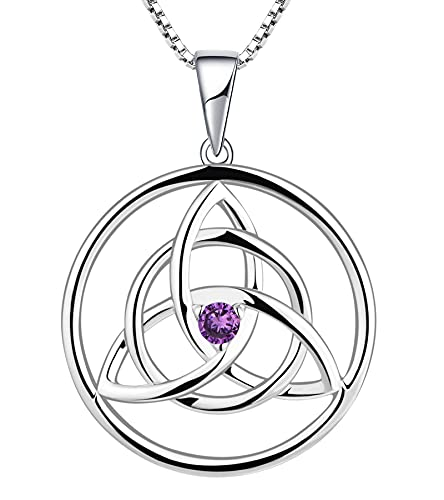 YL Celtic Knot Necklace Sterling Silver Created Amethyst Love Knot Pendant Trinity Knot Jewelry