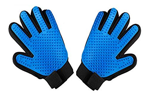 PET GROOMING GLOVES – Best Professional Deshedding, Brushing, Cleaning Mitt Tool for Small, Medium & Large Dogs & Cats. Fur & Hair Remover - Prevents Matted Coats - Soft Rubber Bristle Brush, Adjustab