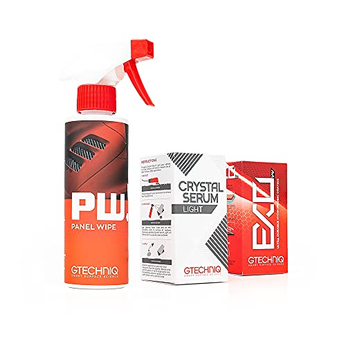 Gtechniq - EXOv4 + Crystal Serum Light (CSL) + Panel Wipe Kit - All in One Detailing Bundle, Paint Protection, Decontaminate, Great Gloss Retention, Water and Dirt Repellency (30 milliliters)