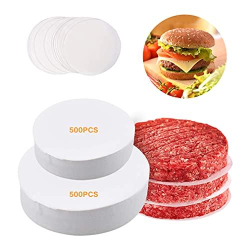minghaoyuan Burgerpapier, Antihaftes Trennpapier mit 10cm & 6cm Durchmesser für Perfekte Hamburger, Cheeseburger, Patties - Wachspapier Antihaftpapier Backpapier Grillzubehör, 2×500 pcs