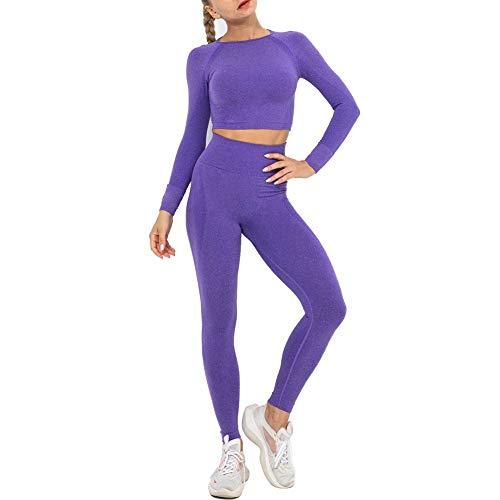 Conjuntos Deportivos Mujer Fitness Seamless Gym Medias e Top de Manga Larga Deportivo Alta Cintura Yoga Elásticos Fitness Seamless para Yoga Fitness Gimnacio en CasaB-L WOERD